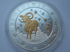Rwanda 1000 francs 2009 Zodiac  Aries Gold Silver + diamonds 3 oz  COA