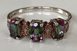 Gorgeous solid silver 925 Mystic Rainbow Topaz & Genuine Diamond ring