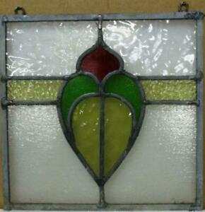 """OLD ENGLISH LEADED STAINED GLASS WINDOW Unframed w Hooks Abstract 11.5"""" x 11.25"""""""