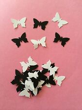 50 small Black And White Butterflies wedding crafts, scrapbooking table confetti