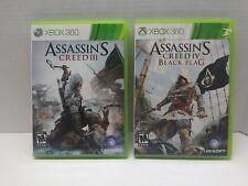 Assassin's Creed 3 & 4 Black Flag ( Xbox 360 ) Games Complete Lot CIB