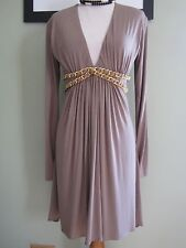 Sky Brown Beige Taupe Deep V-neck Chain Detail Dress Size M