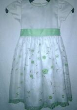 Caldore USA Girl's Off White Green Gold Stitch Floral Short Sleeve Dress Size 4