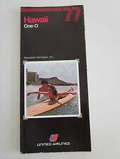 UNITED AIR LINES Hawaiian Holidays Oahu Kauai Maui sea tours package 1977