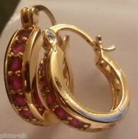 N06 Real 18ct gold gf 16mm diameter creole hoop earrings - 6 red rubies RRP £60!