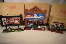 Shelia'S Coca- Cola Sign, Pop Stop & Delivery 3 Shelf Sitters 1998 Nib (E718)
