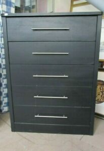 Tall Very Dark Brown Chest of Drawers with 5 Drawers and Long Stainless Handles