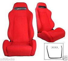 NEW 1 PAIR RED CLOTH RACING SEATS + SLIDERS FIT FOR SUBARU