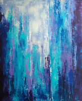 Peinture sur toile Paysage urbain abstrait Original signé HZEN -50x61-CITY BLUES