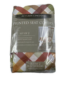 Autumn Gingham Printed Seat Covers - Set of 2 Country Kitchen Rustic