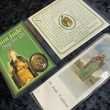 Saint Jude Pocket Shrine Lot(3) Vtg Catholic Prayer Miracle Medal Card Religious