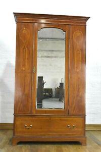 Antique vintage inlaid mirror door wardrobe