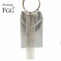 Diamond Tassels Aluminum Women Mini Evening Handbag Purse Wristlets Clutch Bag