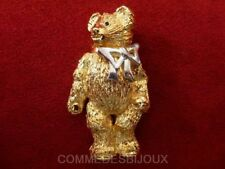 """Broche """"Ours au Noeud"""" doré style Ourson Teddy Bear - Bijoux Bestiaire Cadeau"""