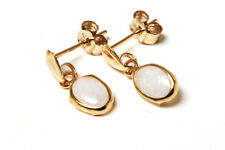 9ct Gold Opal oval Drop earrings Gift Boxed Made in UK