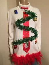 Ugly Christmas Sweater White with Green zig zag tree Red boa Women's XL