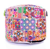 Indian Vintage Style Pouf Cover Trendy Footstool Ottoman Floor Been Bag Cover