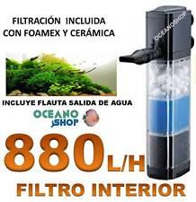 FILTRO INTERIOR 880L/H 12W ACUARIO Tortuguera Filtración de FOAMEX y CERAMICA