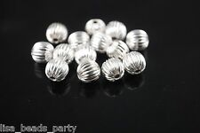 20pcs 8mm Round Wrinkle Alloy Metal Loose Spacer Beads Jewelry Findings Silver