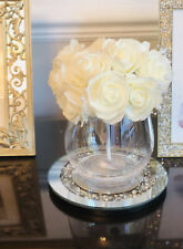 Crushed Crystal Vase Pearl Glittery Flowers,Dimante Round Plate Gift Home Decor