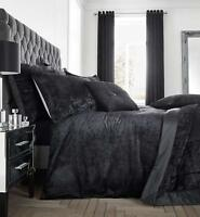 Catherine Lansfield Luxury Crushed Velvet Black Duvet Cover Set With Accessories