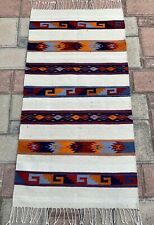 """Zapotec Mexican 32""""x62"""" Hand Woven White Geometric Mat Wall  Wool Tapestry Rug"""