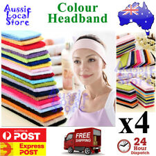 4 x Sports Yoga Gym Headband Cotton Stretch Hairband Girl Woman Kid Armband Wrap