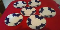 Coalport Blue Batwing Saucer / plates set of six Approx 15 cm across unfinnished