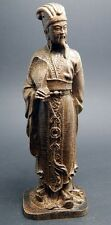 5 inch Chinese Famous Wisdom Zhuge Liang Sculpture Agarwood wood carved statue