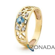 Amethyst Blue Topaz 9k 9ct Solid Yellow Gold Hearts Fancy Ring Size P