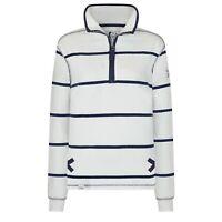Lazy Jacks Ladies 1/4 Zip Stripe Sweatshirt - White - LJ35