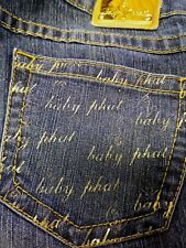 BABY PHAT Juniors Denim Blue Jeans Yellow Stitches Writing On Pockets Size 9