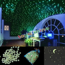 200X Stars Moon Bedroom Home Wall Room Decor Glow In The Dark (No glue)