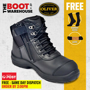 Oliver 34660 Work Boot. Steel Toe Safety. Black Leather. ZIP-SIDE & SCUFF CAP