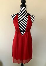 Topshop Rare Women's Size UK 8 Red New Unique Strappy Plunge Dress RRP £98.00