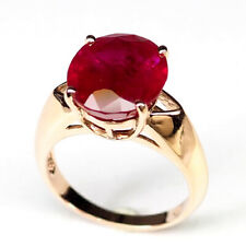 RUBY BLOOD RED OVAL 7.20CT. 925 STERLING SILVER ROSE GOLD RING SZ 6.5 GIFT WOMEN