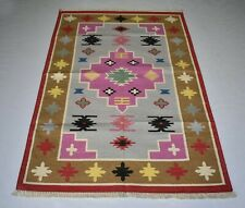 Hand Woven Turkish Rug Colorful Floral Home Decorative 4x6 Feet Cotton Area Rug