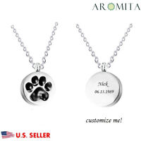Personalized Custom Round Paw Print Pet Memorial Cremation Keepsake Urn Necklace