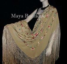 "Flamenco Embroidered Silk Piano Shawl Wrap Wheat Floral 84"" Maya Matazaro"