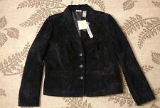 NWT $88 Fieldgear M Ebony Black Washable Suede Leather Jacket Blazer