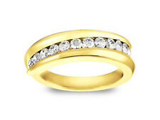 0.60ct Diamond Wedding Band Ring 18k Yellow Gold Round Cut Channel Setting H SI2