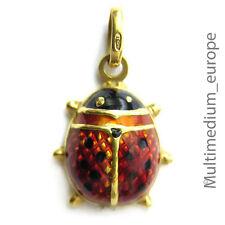 Marienkäfer Gold 750 transluzides Emaille ladybird beetle enamel pendant charm s