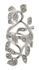 Zest Hoja Anillo Con Transparente Diamante Cristales tamaño del Reino Unido R