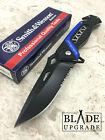 Smith & Wesson Rescue Linerlock Blue Serrated Glass Breaker Folding Knife 608BLS