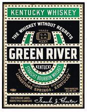C1930S WHISKEY BOTTLE LABEL GREEN RIVER LIMESTONE SPRINGS KENTUCKY EMBOSSED 1