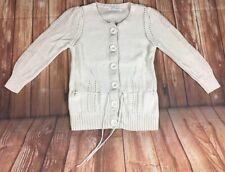TOPSHOP Vintage Label Cream Knitted Crochet Button Up Tie Waist Cardigan 10 38
