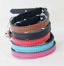 Cat Collar Kitten Real Leather Safety Elastic Post 6 Colours Bell Blue