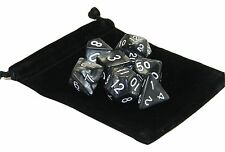 New 7 Piece Polyhedral Pearlescent Nacreous Black Dice Set With Bag D&D RPG