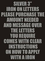 """3"""" VINYL IRON ON LETTERS SILVER TRANSFER T-SHIRT PRINTING"""