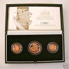 2005 OR ÉPREUVE TROIS PIÈCE DE MONNAIE KIT COLLECTION SOUVERAIN 1/2 DEMI